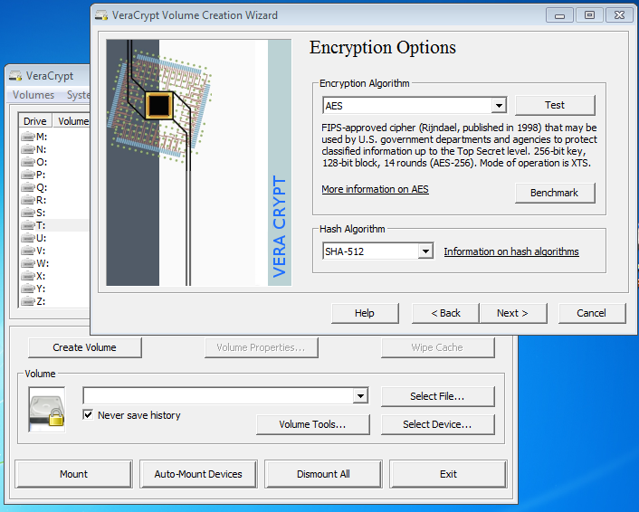 VeraCrypt encrypted volume creation