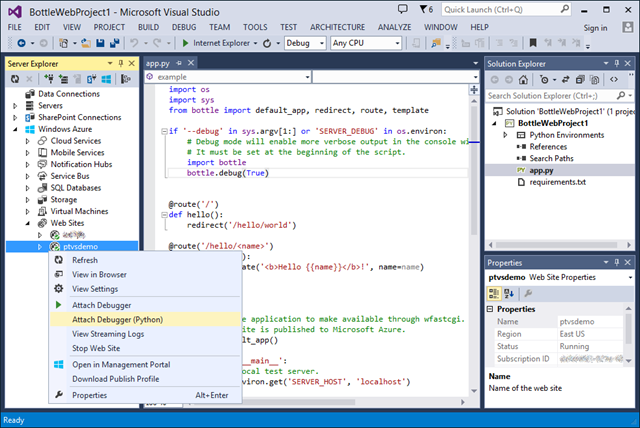 Find your project in Server Explorer for easy debugging