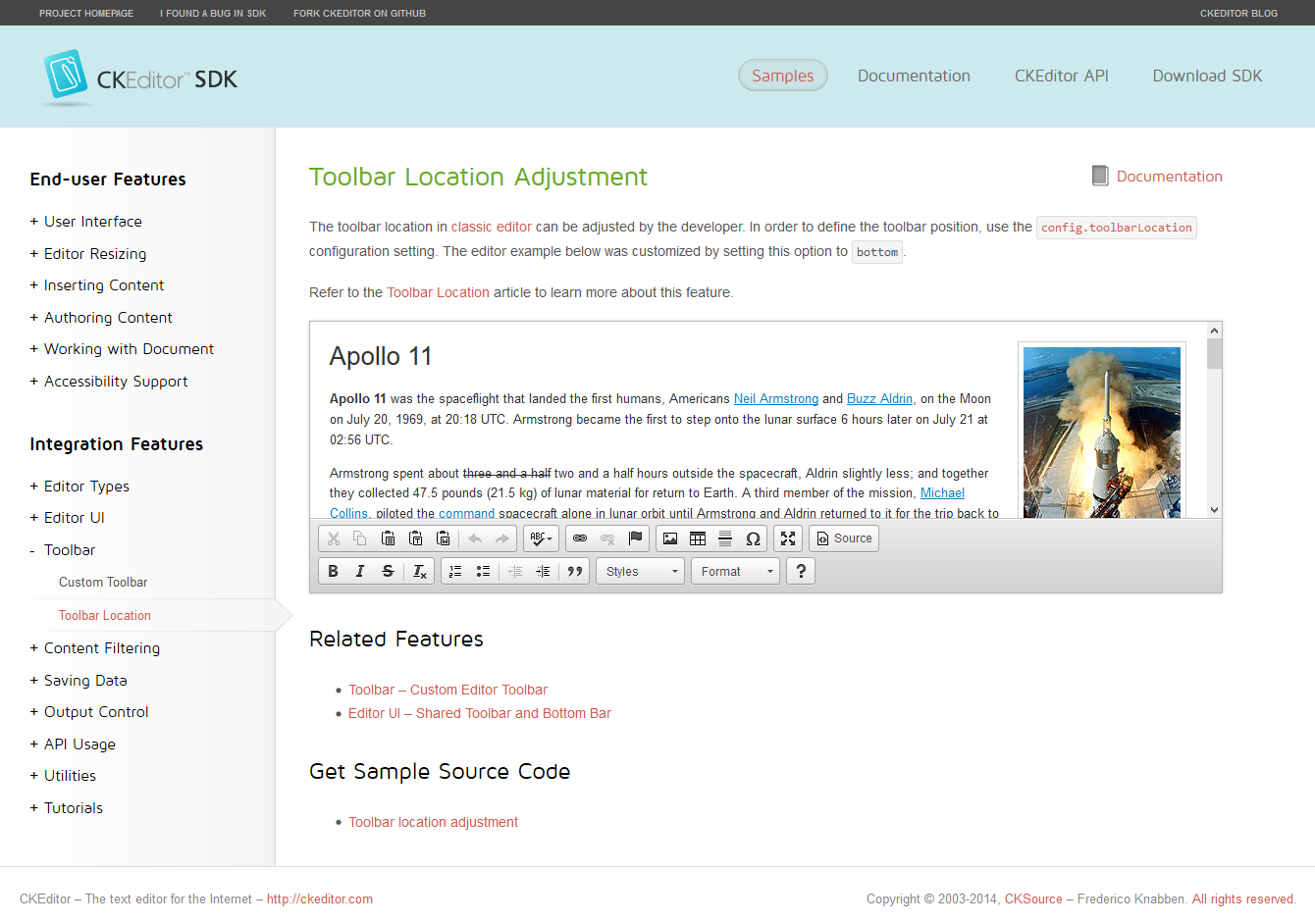 The SKEditor SDK page