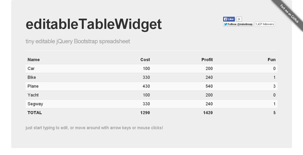 editable table widget