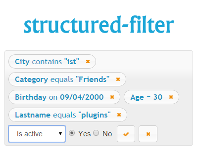 Structured Filter – jQuery UI Widget for Structured Queries