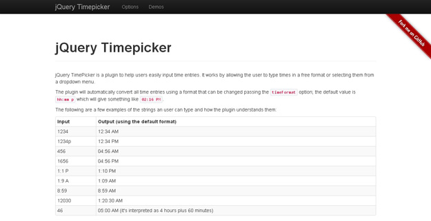 jQuery Timepicker