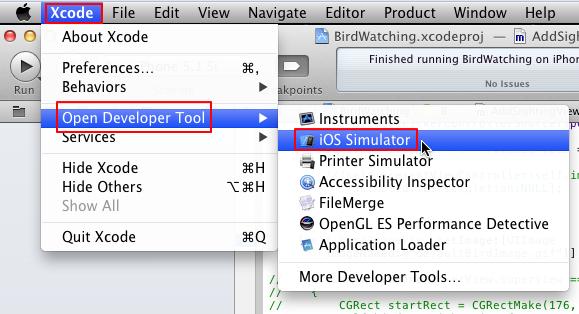 xcode open developer tool ios simulator