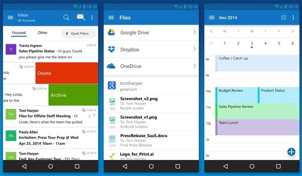 免费!微软发布安卓/iOS版Outlook
