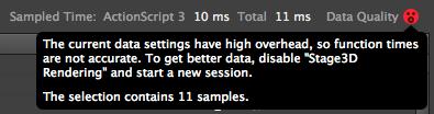 图 8:打开 Stage3D Recording 后,ActionScript 面板中的警告