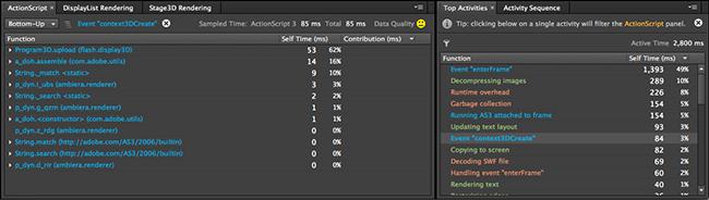 图 6:使用 Top Activities 面板中测量的数据对 ActionScript 面板中抽样的数据进行过滤。