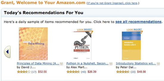 Amazon 上的协作筛选示例