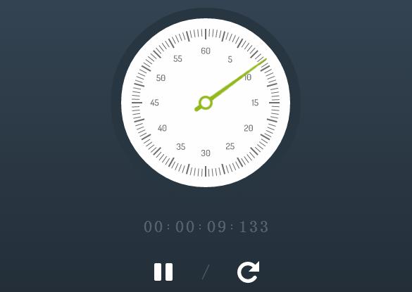 HTML5/CSS3圆盘秒表动画 秒表可暂停计时
