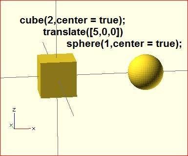 image of result of the translate() transformation in OpenSCAD