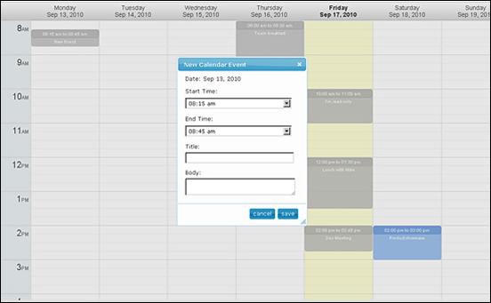 Jquery Week Calendar