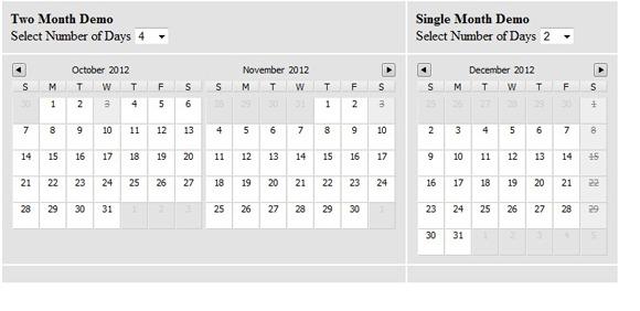 Multi day Calendar Date picker JQuery Plug-in