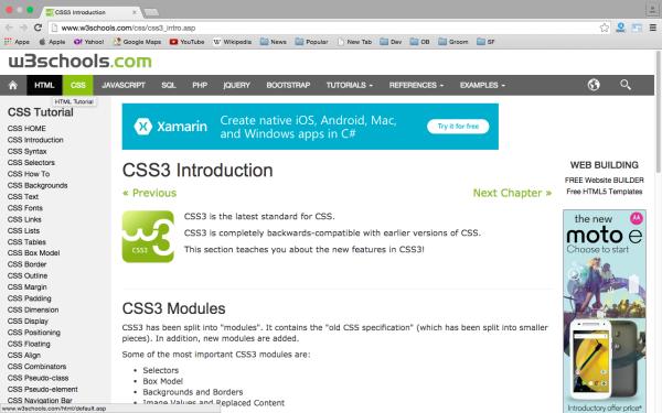 best way to learn CSS3 online  - w3school