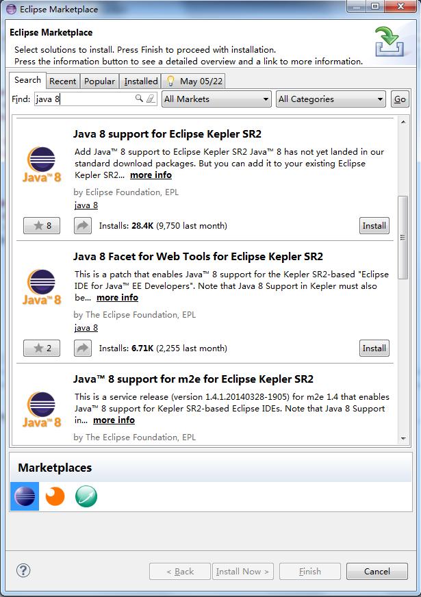 图 1. 安装 Java 8 support for Eclipse Kepler SR2