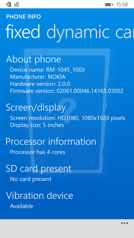 Fixed features view on Nokia Lumia 930 (Windows Phone 8.1 version)