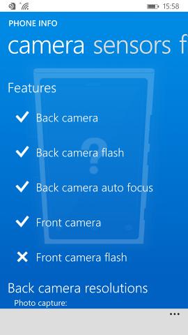 Camera features view Nokia Lumia 930 (Windows Phone 8.1 version)