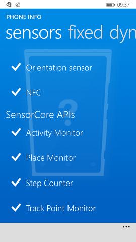 Sensor features view on Nokia Lumia 930 (Windows Phone 8.1 version)