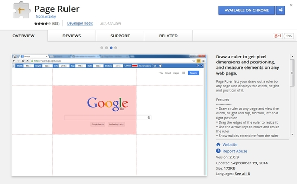 Page Ruler - chrome plugin