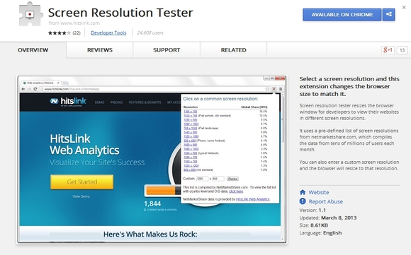 Screen Resolution Tester - chrome extension