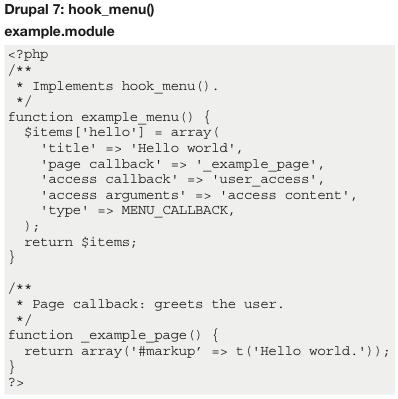 Drupal 7: hook_menu()
