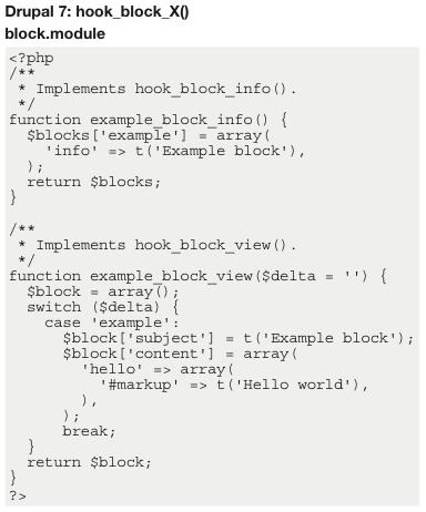 Drupal 7: hook_block_X()