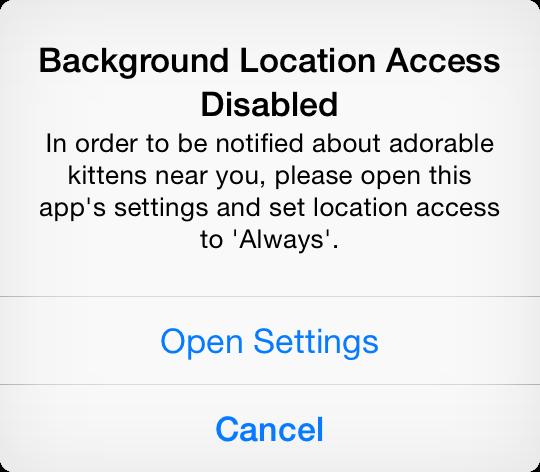 Core Location Settings Alert