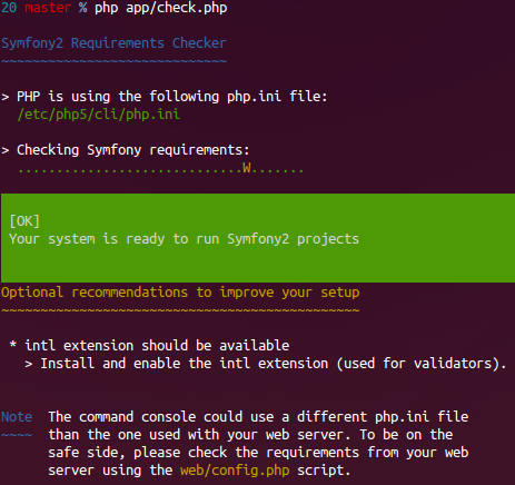 screen shot symfony check console