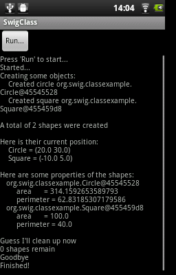 Android screenshot of SwigClass example
