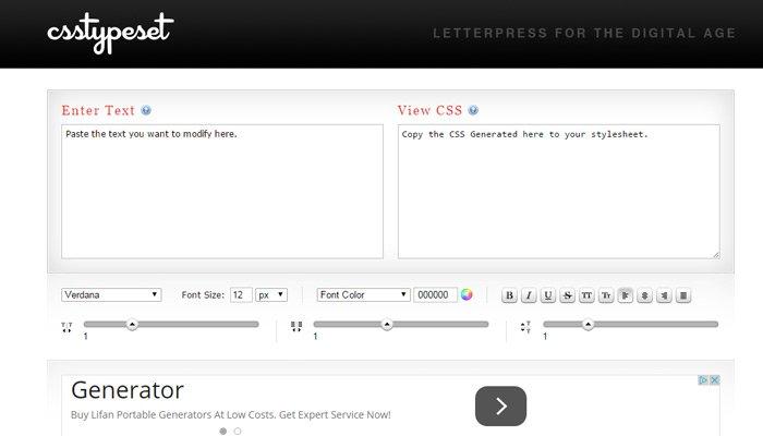 css type set webapp