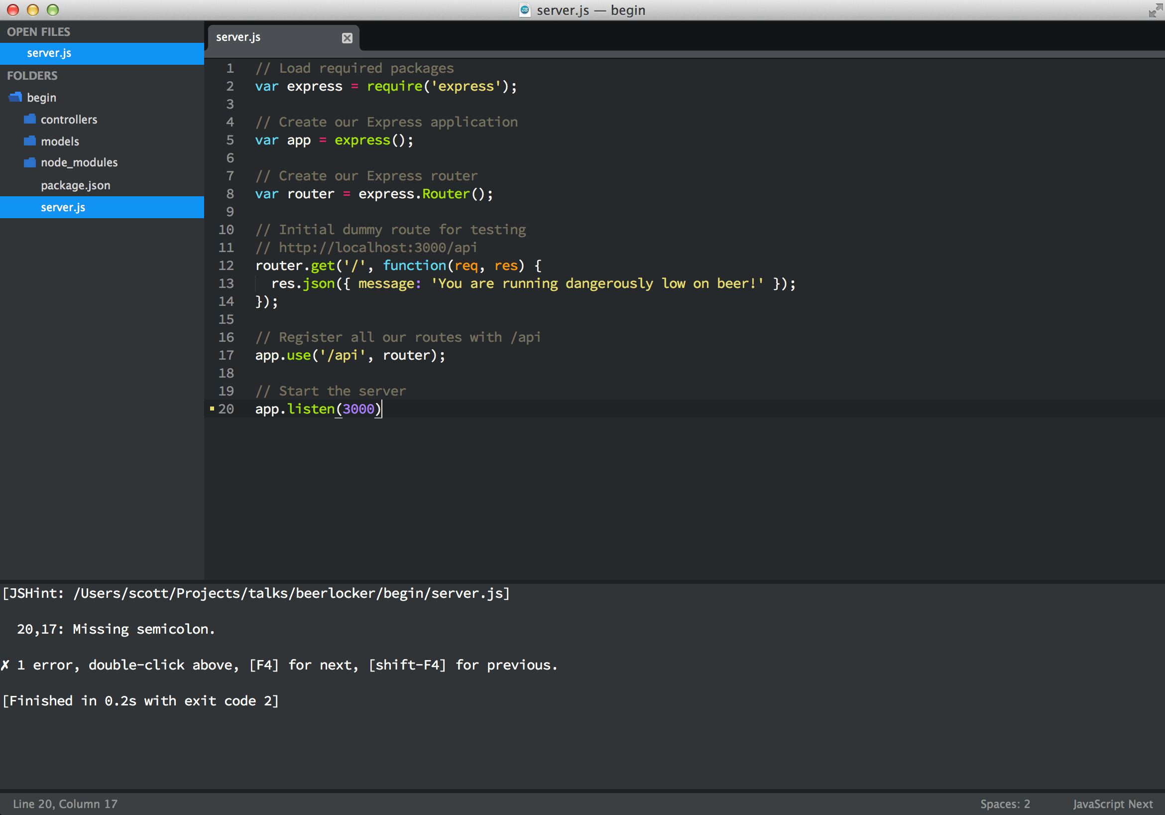 Example of JSHint