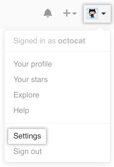 Settings icon in the user bar