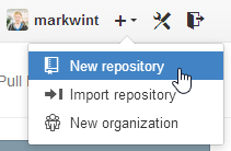 "GitHub ""New repository"" option"