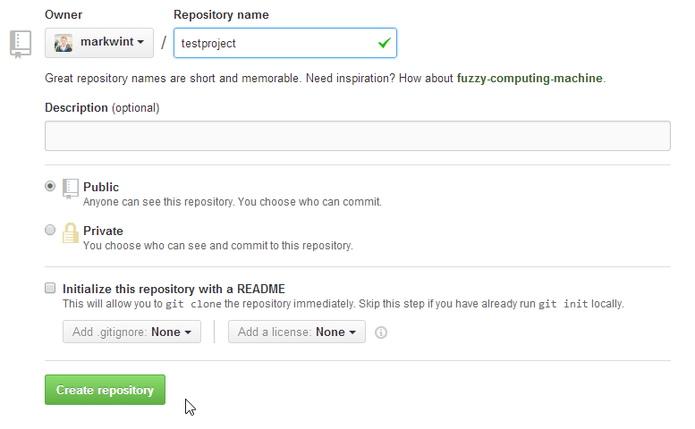 GitHub create new repository form