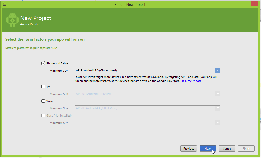 """Android Studio """"Select the form factors your app will run on"""" screen"""