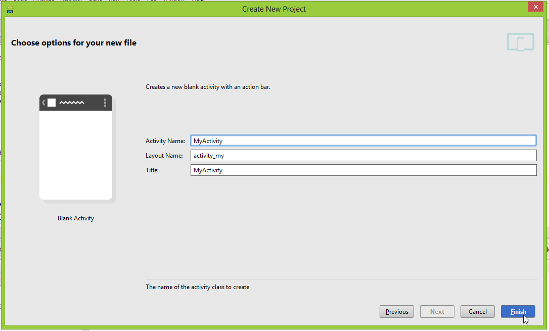 """Android Studio """"New file options"""" screen"""