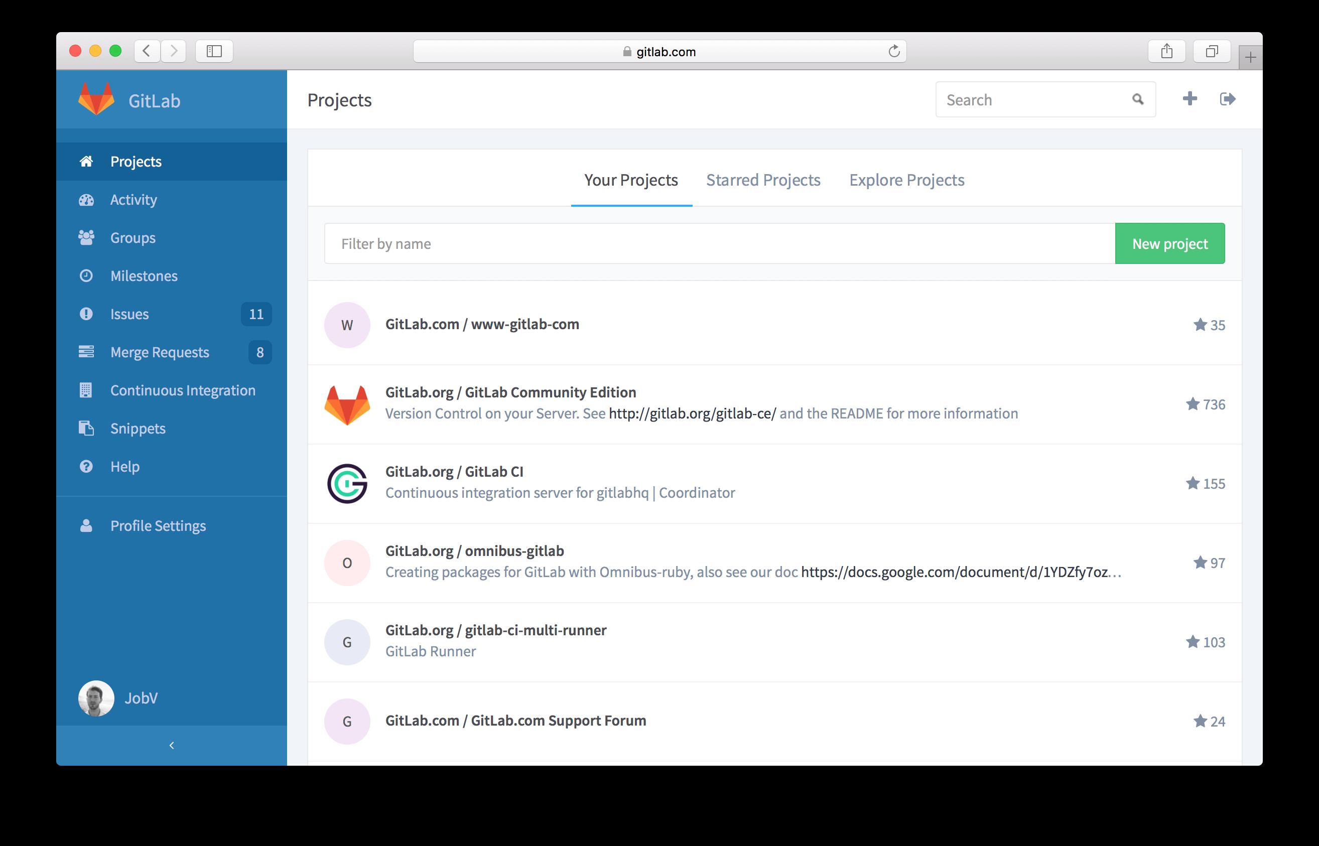 GitLab 8.0 Dashboard
