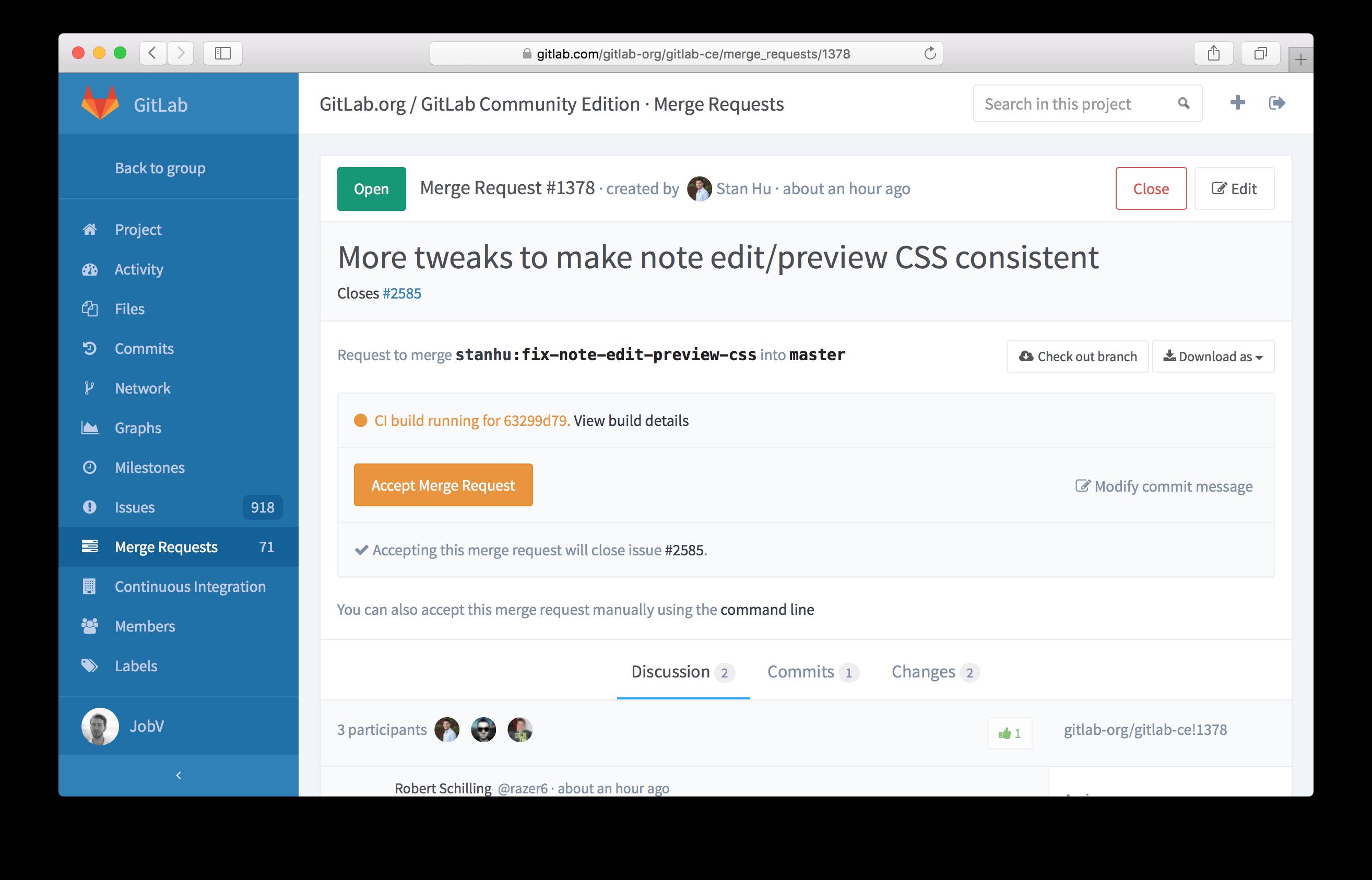 GitLab 8.0 Merge Request