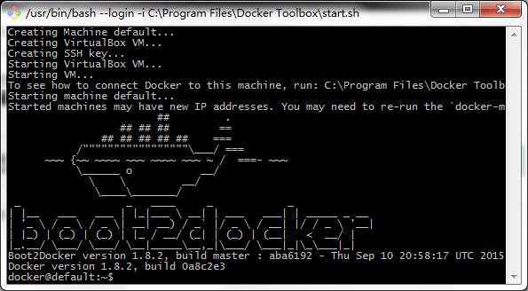 Docker Toolbox成功画面