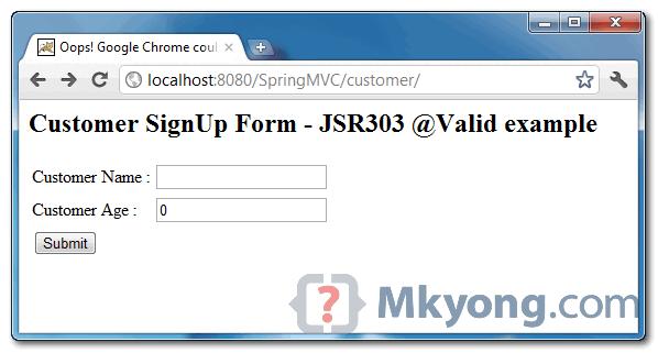 Spring MVC JSR303 demo page