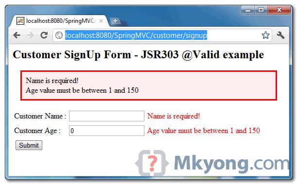 Spring MVC JSR303 demo page - error message