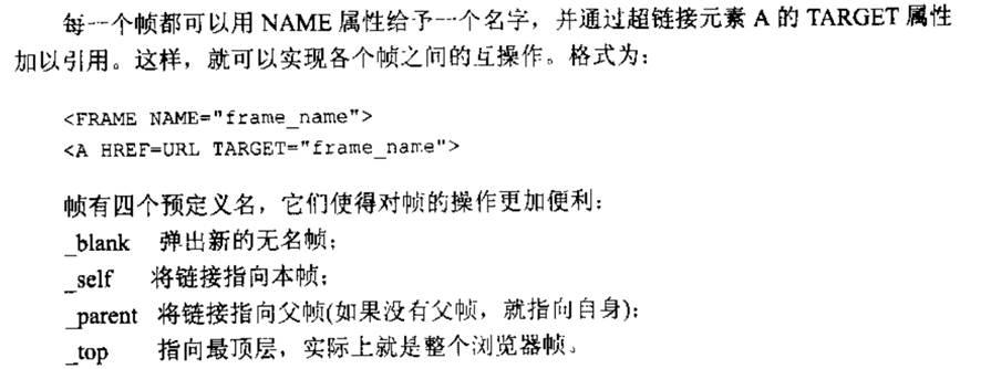 """计算机生成了可选文字: 每一个帧都可以用NAME属性给予一个名字,加以引用。这样,就可以实现各个帧之问的互操作。并通过超链接元素A的TARGET属性格式为:<FRA介IENAME二',f:amename'><AHREr二URLTARGET!""""七工a爪e_na职e'>帧有四个预定义名,它们使得对帧的操作更加便利:blank弹出新的无名帧;self将链接指向本帧;一arent将链接指向父帧(如果没有父帧,就指向自身):少p指向最顶层,实际上就是整个浏览器帧。"""
