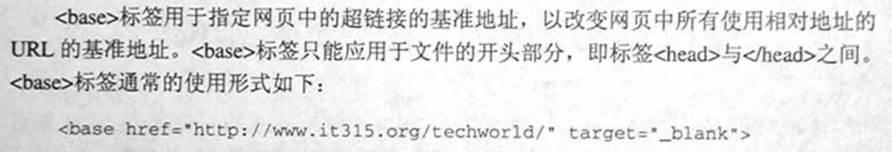 """计算机生成了可选文字: <base>标签用于指定网页中的超链接的墓准地址,以改变网页中所有使用相对地址的URL的荃准地址。<base>标签只能应用于文件的开头部分,即标签<head>与<角cad》之间。<加"""">标签通常的使用形式如下:<basehref二""""h七仁p://认八门时.it315.org/仁echworld/'targe七二""""一blank'>"""