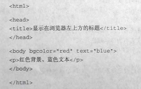 """计算机生成了可选文字: <html><h6dd><title》显示在浏览器左上方的标脱</ti仁le》</head》<b火扮勿color二""""red""""仁ext二""""blue""""》<p>红色背景、蓝色文本</p》《/body》</html》"""