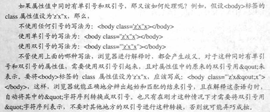 """计算机生成了可选文字: 如果属性值中同时有单引号和双引号,那又该如何处理呢?例如,假设<伙川y>标签的dass属性位设为'z'x""""x,那么,不使用任何引号的写法为:<卜x】ydass=迹迩>灯饮刘y>使用单引号的写法为:<伙刘ydass='义兰达.>心饮川y>使用双引号的写法为:<伙刘yc!.5二""""迫壑'.>以伙川y>不管使用上面的哪种写法,浏览器进行解择时,都会产生歧义.叶于这种同时有单引号和双引号的属性值,雷要使用双引号引起来,且对属性值中的原来的双引号用&qout:未表示.要将<伙劝y>标签的class属性值设为'z'x""""、,应该写成:<伙川yclass=""""'z'x构out;x'"""">心长川y>,这样,浏览器就能正确地分辫出起始和匹配的结束引号,且在解释这条语句时,自动将其中的""""字符序列转换成双引号.也只有在刚才这种情况下才雷要将双引号用如uot;字符序列表示,不要对其他地方的双引号进行这种转换,否则就可能弄巧成拙."""