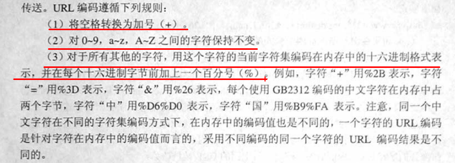 """计算机生成了可选文字: 传送。URL编码遵循下列规则:(2)对压9,a一i,A,Z之间的字符保持不变.(3)对于所有其他的字符,用这个字符的当前字符集编码在内存中的卜六进制格式表j互左夔迎生叁坦逝迷业延址途亘坦例如,'多符""""十""""川%ZB表示,字符""""=""""用%3D表示.字符""""&""""用%26表示,征个使用GB2312编码的中文字符在内存中占两个字节.字符""""中""""用%D6%D0表示,字符""""囚""""用%Bg%FA表示。注愈,同一个中文字符在不同的字符集编码方式下,在内存中的编码位也是不同的,一个字符的URL编码是针对字符在内存中的编码值而言的,采用不同编码的同一个字符的URL编码结果是不同的。"""