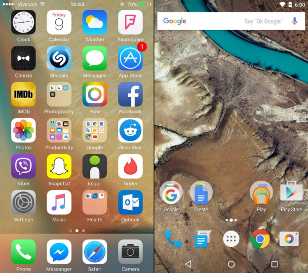 ios-9-vs-android-6.0-marshmallow-home-screen