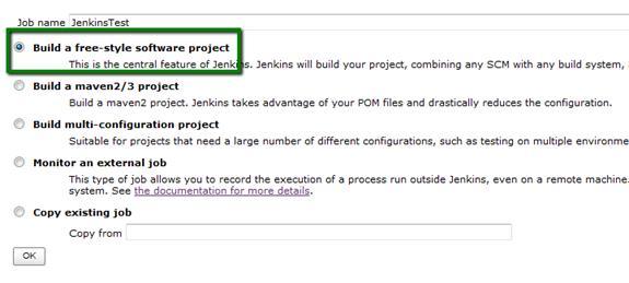 图 8. 新建 JenkinsTest Job