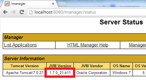See JVM version for Tomcat