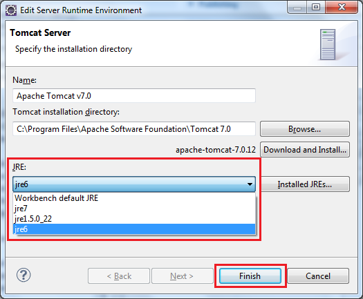 Change JRE for Tomcat in Eclipse