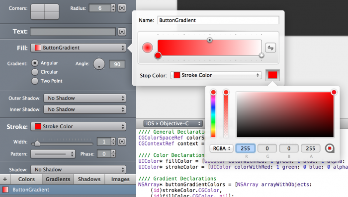 Setting the button gradient colors