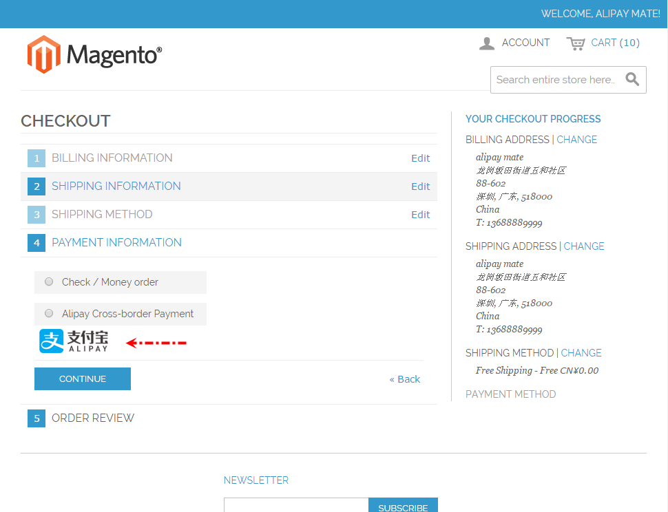 Magento 1.9 Alipay Cross-border Mobile Payment - Choose Payment Methods